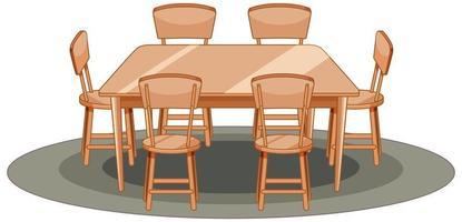 mesa de madeira e cadeira estilo cartoon vetor