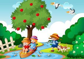 crianças remam o barco na cena da floresta do riacho