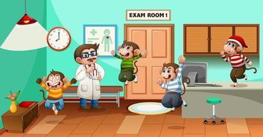 cinco macaquinhos pulando no hospital com o médico