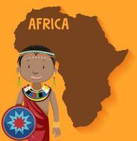 personagem da tribo africana com mapa da áfrica vetor