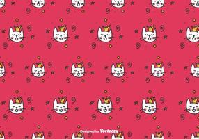 Padrão do vetor da rainha do gato Doodle