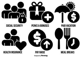 Coleção de ícones de benefícios de funcionários de vetores