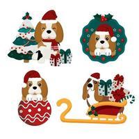 beagle em elementos natalinos com chapéu de Papai Noel