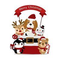 beagle de natal e amigos animais no saco
