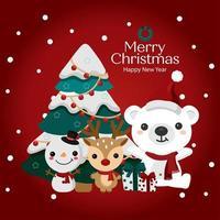 boneco de neve, rena e urso com árvore de natal