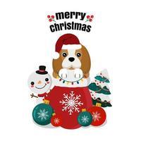 beagle de natal no saco com boneco de neve e árvore