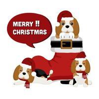 Beagles de natal na bota do papai noel