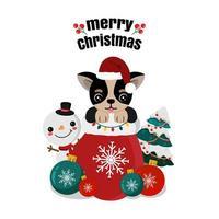 chihuahua fofo no saco do Papai Noel com boneco de neve e enfeites
