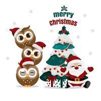 papai noel e corujas com árvore de natal e presentes
