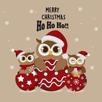 corujas de natal com chapéus de papai noel em enfeites