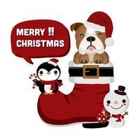 bulldog na bota de Papai Noel com boneco de neve e pinguim