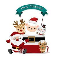 Papai Noel e amigos fofos design de natal