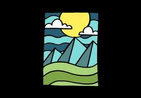 Montanhas e paisagem lunar vetor