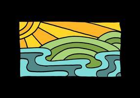 Desenho de linha de sol e água vetor