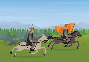 Ilustração gratuita da Batalha de Cavalaria vetor