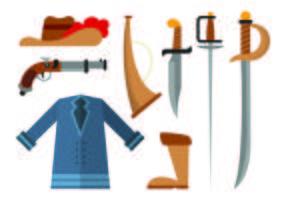 Conjunto de ícones dos mosqueteiros vetor