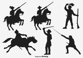 Silhuetas de vetores do exército de cavalaria