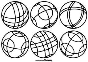 Ícones de linha de bolas de Bocce de vetores