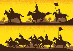 Silhuetas de campo de batalha da cavalaria vetor