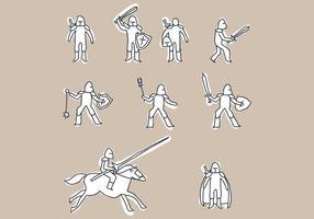 Conjunto De Doodles De Cavalaria