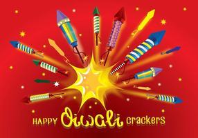 Diwali crackers de fogo vetor de foguete