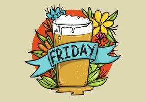 Cerveja Friday Banner Tattoo Style Art vetor