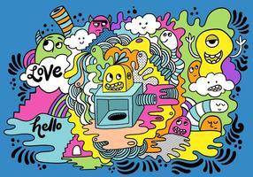 Desenho colorido do monstro louco vetor