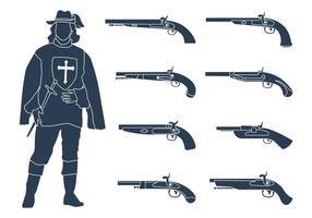 Royal Musketeers Silhouette and Musket Gun Collection vetor