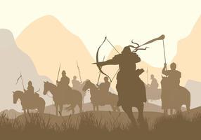 Vetor grátis da silhueta da guerra da cavalaria