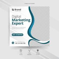 modelo de mídia social de marketing com detalhes ondulados em azul