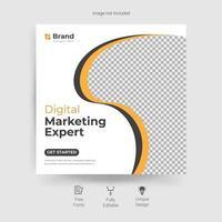 modelo de mídia social de marketing com design curvo amarelo e cinza