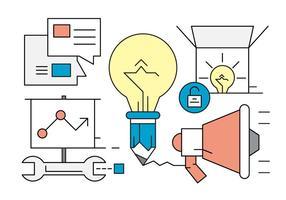 Marketing linear e ícones de inicialização vetor