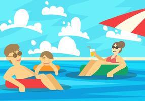 Família tomando banho de sol na praia vetor