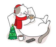 mão desenhada gato de natal comendo doces