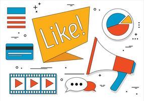 Ícones de mídia social de vetor de design plano gratuito