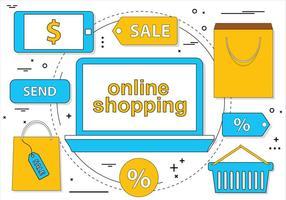 Ícones de compras on-line gratuitas de design plano vetor