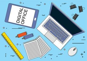 Ícones de escritório digital de design plano simples grátis