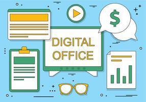Ícones de escritório digital de design plano simples grátis vetor