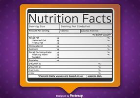 Etiqueta de fatos de nutrição vetorial