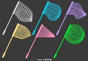 Ícones lisos de rede de borboleta vetorial vetor