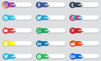 logotipo de mídia social ou coleção de etiquetas vetor