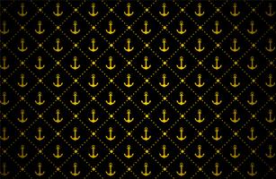 padrão de âncora dourada no preto vetor