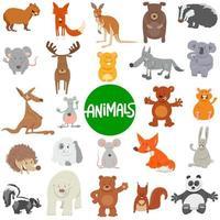 grande conjunto de personagens de animais selvagens de desenho animado