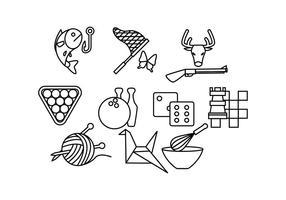 Vetor de ícones de linha de hobbies grátis