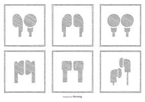 Coleção Sketchy do ícone do fone de ouvido
