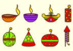 Ícones de Diwali Fire Crackers vetor