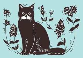 Litografia de gato vetor