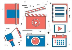 Ícones de mídia digital de vetor de design plano gratuito