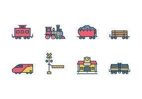 Conjunto de ícones de trem gratuito vetor