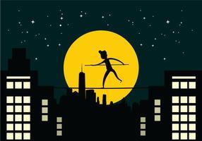 Tightrope Walker Over City Buildings À Noite vetor